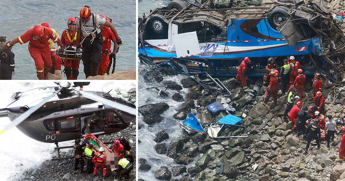 At least 48 dead after bus plunges off cliff in Peru