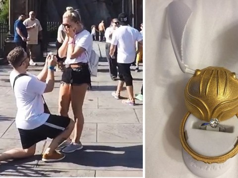 Harry Potter mad couple get engaged outside the Hogwarts School
