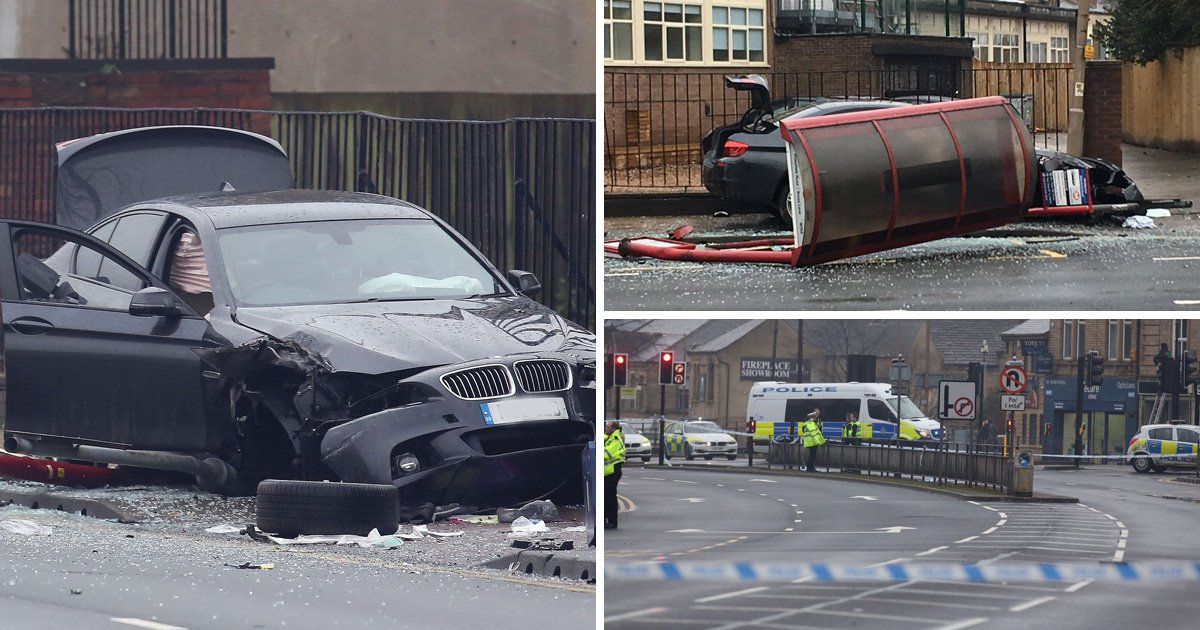 Girl, 15, and woman fighting for their lives after car smashes into bus shelter