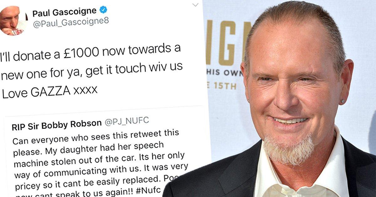 Paul Gascoigne donates £1,000 to help girl whose voice machine was stolen
