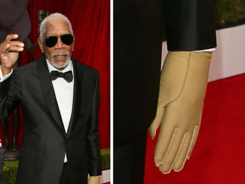 Why was Morgan Freeman wearing one glove to the 2018 SAG Awards?