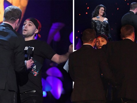 Dermot O'Leary confronted with stage invader at NTAs