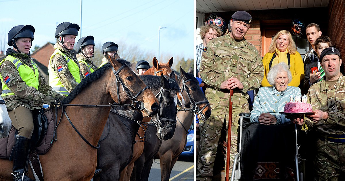 Woman treated to military horse parade as a 100th birthday present