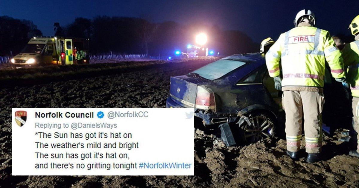 Council slammed after 37 cars crash following tweet about not gritting roads