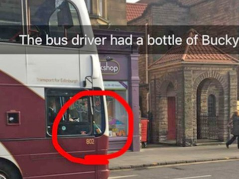 Buckfast bottle spotted in the cab of a Scottish bus