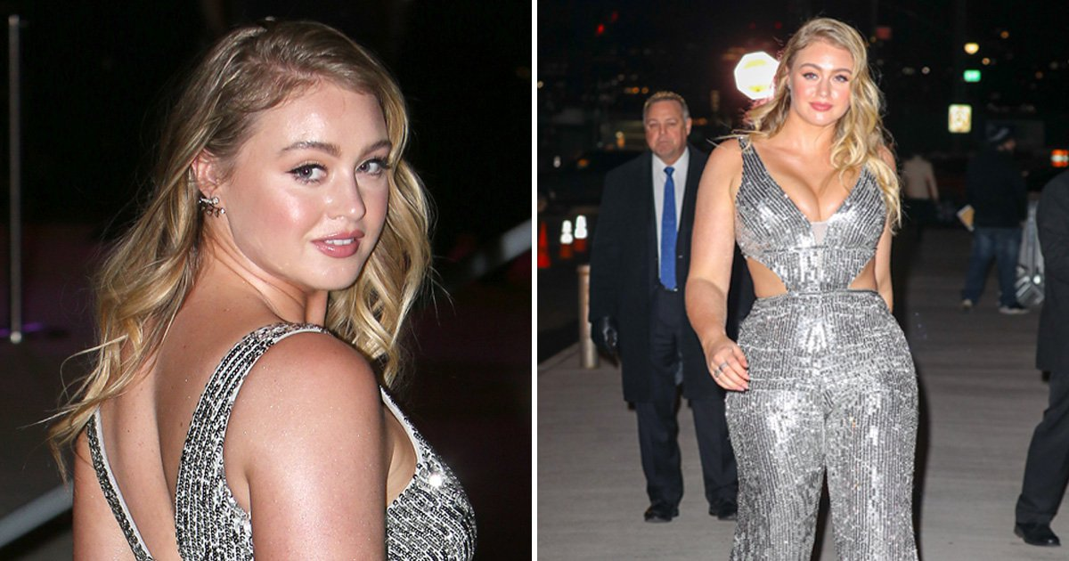 Iskra Lawrence wearing the sparkliest cut-out jumpsuit to Grammys after party is giving us life
