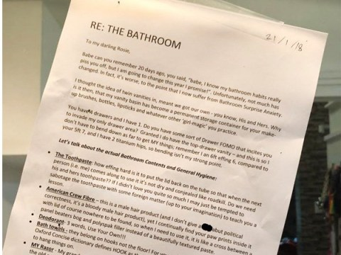Husband shames wife's bathroom habits in over the top letter
