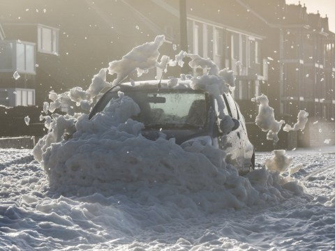 What is sea foam seen by Storm Eleanor and what causes it?