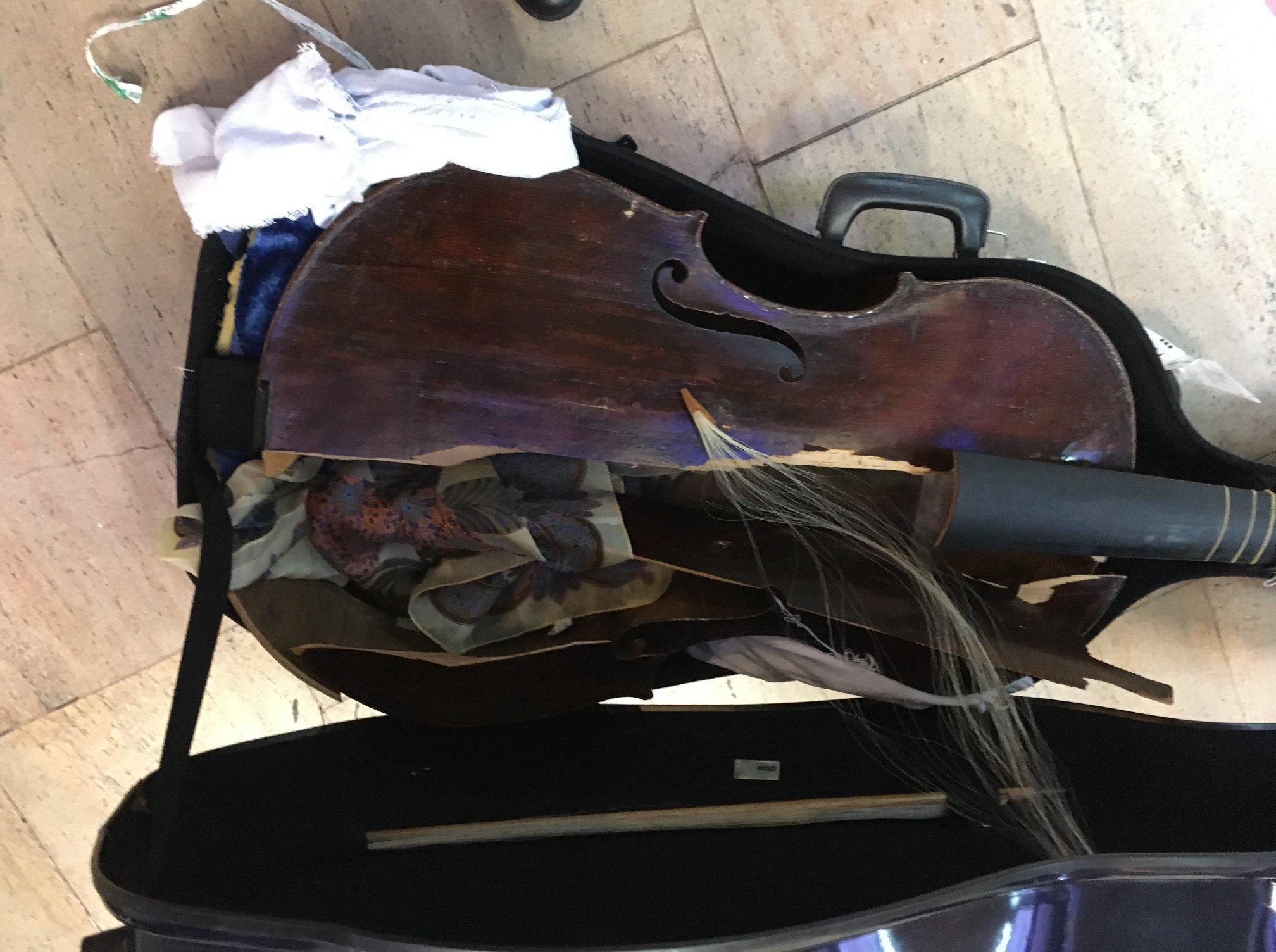 Cello destroyed