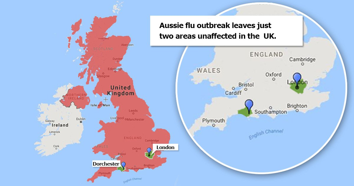 Only two areas in the UK remain unaffected by 'Aussie flu'