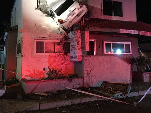 Driver got so high he ended up parking in someone's upstairs