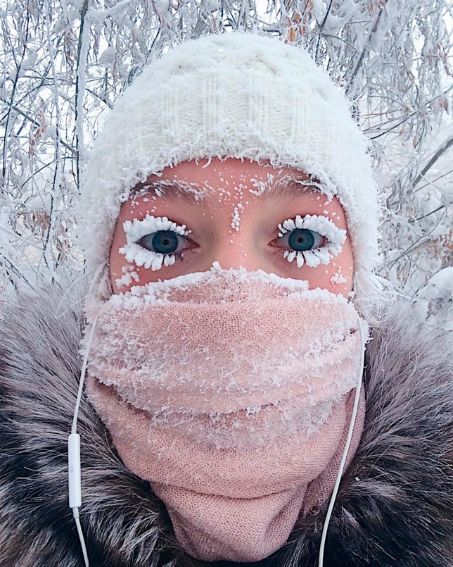 It's -62°C in Russia and people's eyelashes are freezing