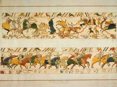 Where is the Bayeux Tapestry being displayed, how long is it and who made it?