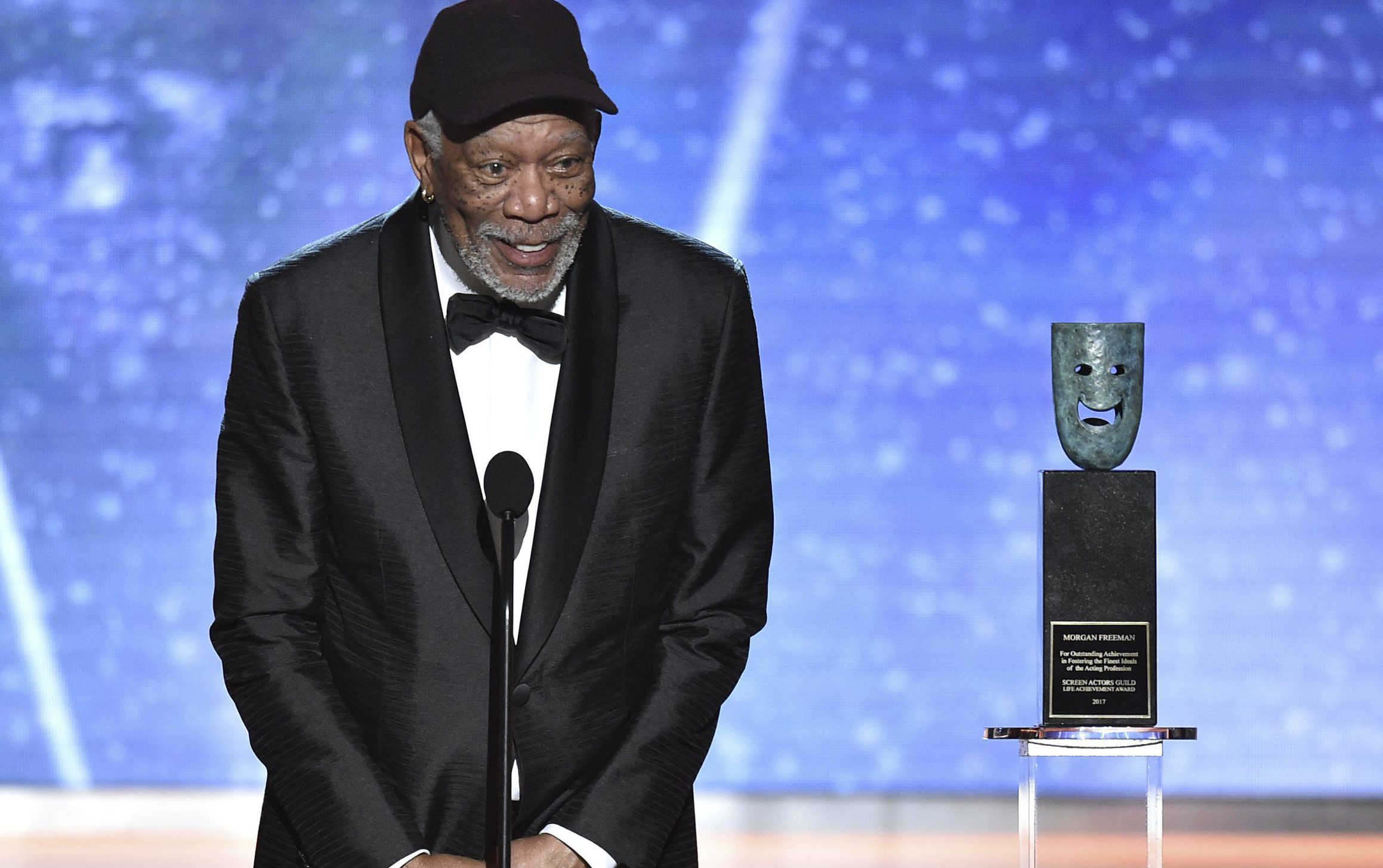Morgan Freeman has not got time for people talking during his speech at SAG Awards