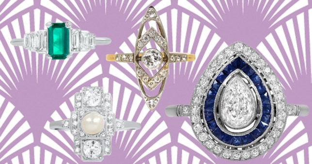 A selection of art deco engagement rings