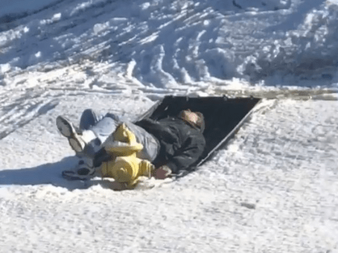 Man sleds into a fire-hydrant groin first