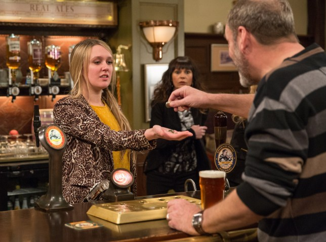 Rebecca works at the Woolpack in Emmerdale