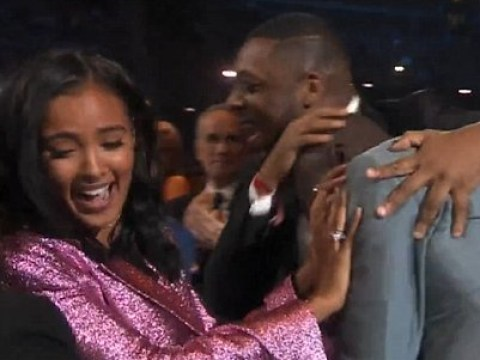 Maya Jama accidentally shoved out the way as Stormzy picks up best male win at Brit Awards