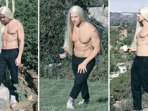 Diplo strips off and wears a wig as he spoofs Yeezy's Kim Kardashian-inspired shoot