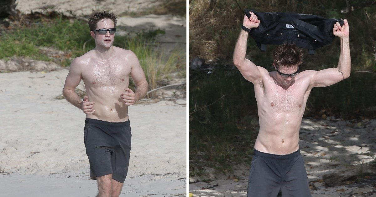 Robert Pattinson bulks up with sweaty beach workout even though he thinks exercising is 'embarrassing'