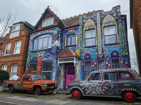 Incredible house covered in a million mosaic pieces has finally been revealed after years of being obscured by scaffolding