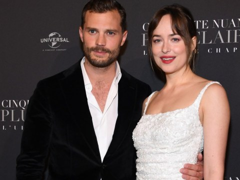 Jamie Dornan and Dakota Johnson are all smiles at the Fifty Shades Freed premiere in Paris