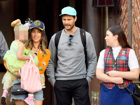Jamie Dornan is miles away from Christian Grey as he plays doting dad at Disneyland
