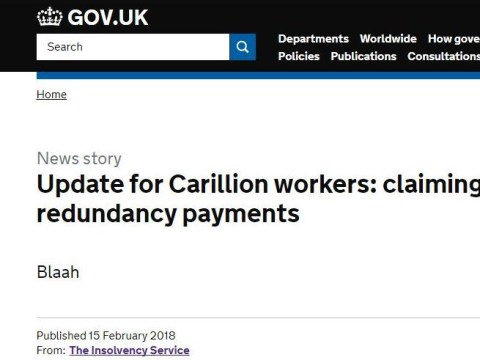 Government forced to apologise after saying 'blaah' to Carillion workers