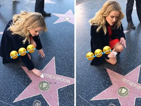 Reese Witherspoon polishes her own Hollywood Walk of Fame star in hilarious video
