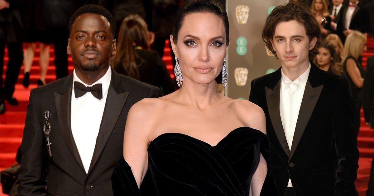 Daniel Kaluuya, Angelina Jolie and TimothéeChalamet bring their political A-game in black on the Baftas 2018 red carpet