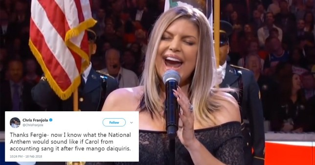 Fergie's national anthem did not go down well at the NBA All