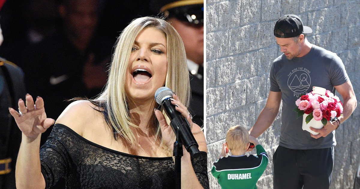 Josh Duhamel brings flowers to ex-wife Fergie's home after national anthem disaster
