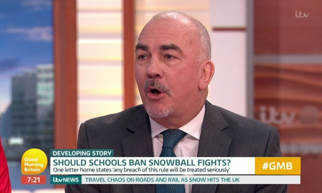 """Headteacher Ges Smith has defended the decision, saying they had to introduce the rule for health and safety reasons. Speaking on Good Morning Britain , he said: """"The problem is it only takes one student, one piece of grit, one stone in a snowball in an eye with an injury and we change our view."""