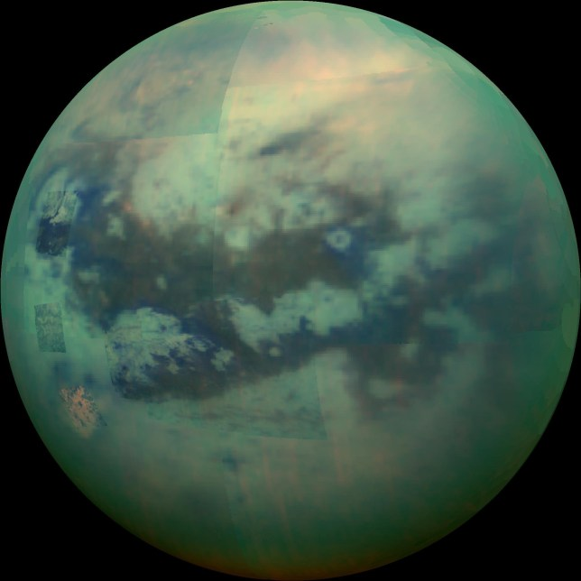 This composite image shows an infrared view of Saturn's moon Titan from Nasa's Cassini spacecraft (Picture: JPL/NASA)