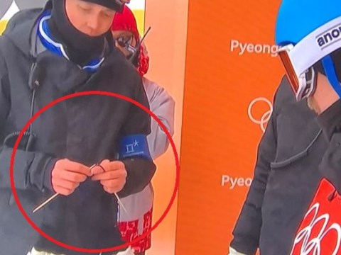 Winter Olympics coach spotted KNITTING on the ski slope in Pyeongchang