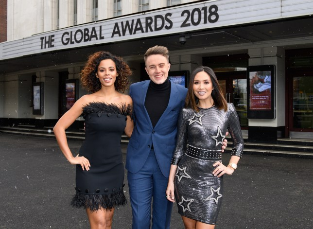 The Global Awards 2018, hosts - Rochelle Humes, Roman Kemp, Myleene Klass (1)