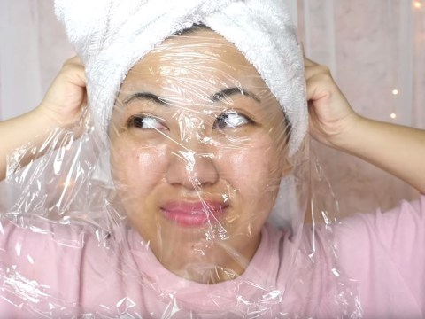 We really wouldn't recommend this 'blackhead-melting' cling film and Vaseline trick