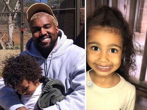 A rare smiling Kanye West shines during family trip to zoo with Kim, North and Saint
