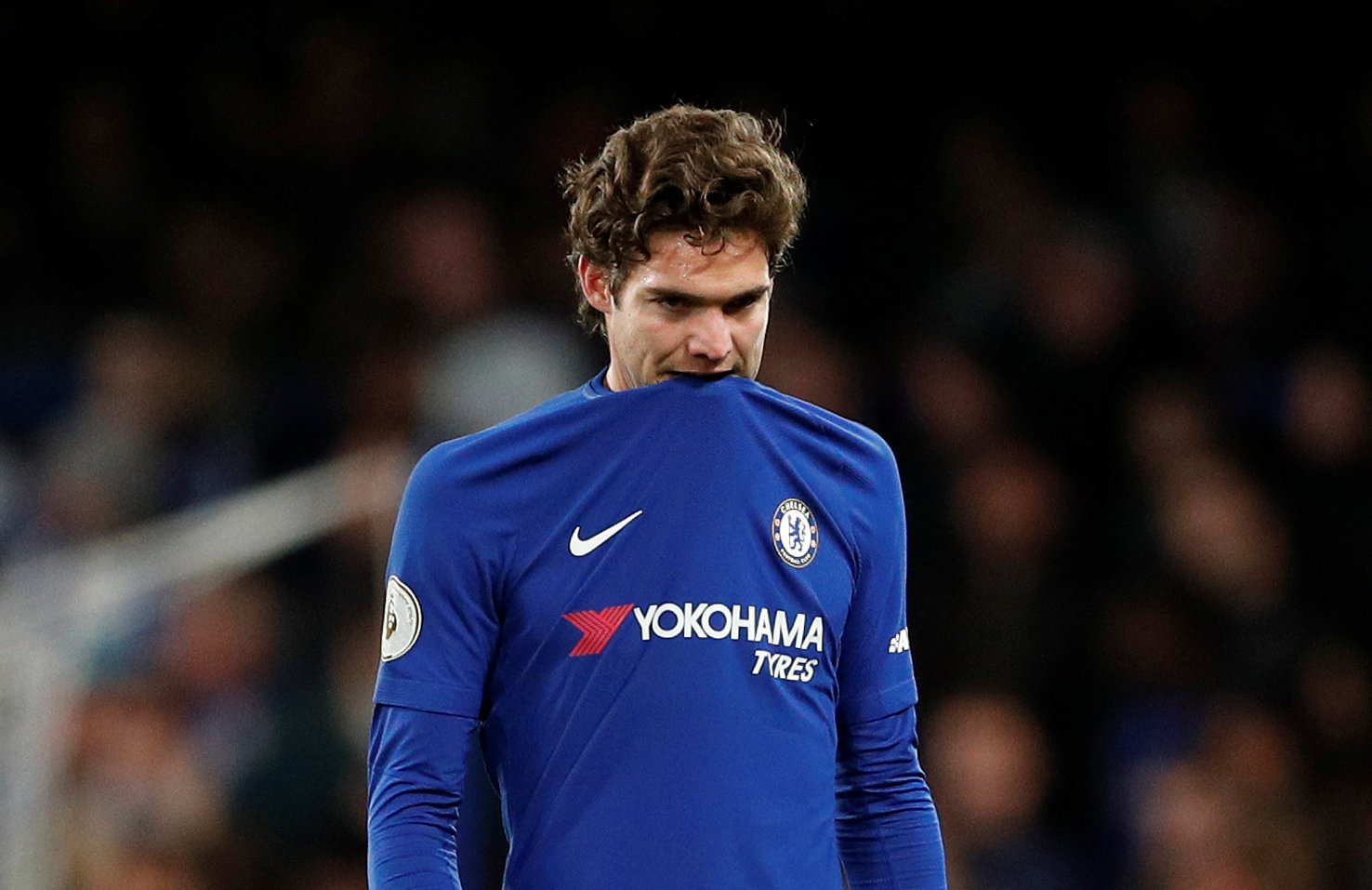 "Soccer Football - Premier League - Chelsea vs AFC Bournemouth - Stamford Bridge, London, Britain - January 31, 2018 Chelsea's Marcos Alonso looks dejected after Bournemouth's Junior Stanislas scores their second goal Action Images via Reuters/John Sibley EDITORIAL USE ONLY. No use with unauthorized audio, video, data, fixture lists, club/league logos or ""live"" services. Online in-match use limited to 75 images, no video emulation. No use in betting, games or single club/league/player publications. Please contact your account representative for further details."