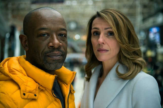 """Television programme : Save me. Lennie James as Nelson """"Nelly"""" Rowe and Suranne Jones as Claire McGory, Photographer: Des Willie"""