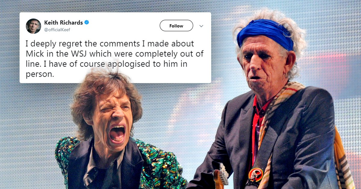Keith Richards apologises to Mick Jagger for saying he should get a vasectomy