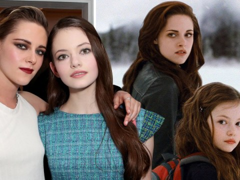 Kristen Stewart poses with her on-screen daughter in Twilight reunion