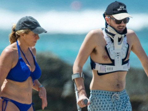 Jeremy Clarkson's son Finlo sports neck brace and crutches on holiday with mum Frances Cain