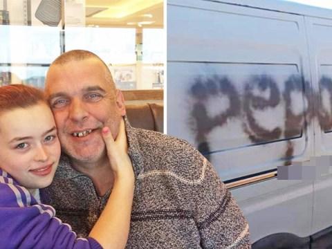 Man, 46, with wife, 19, has 'pedo' written on his van