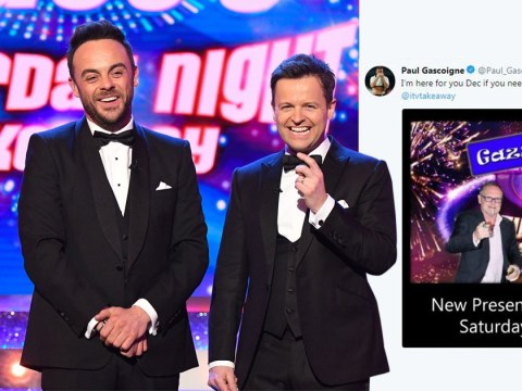 Paul Gascoigne volunteers to fill Ant McPartlin's job on Saturday Night Takeaway as Declan Donnelly prepares for solo show