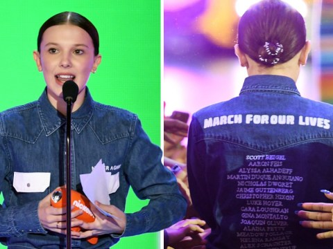 Millie Bobby Brown dedicates her Kids' Choice Award to the Parkland School victims as she wears their names on her back
