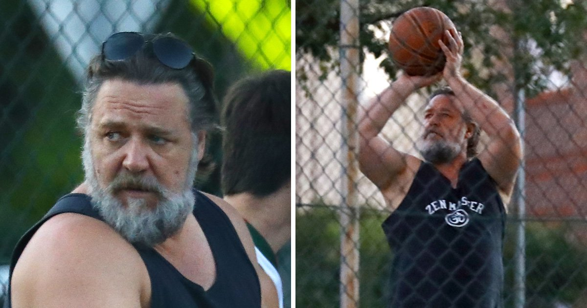 Russell Crowe plays basketball with his kids as he attempts to sell Gladiator props in 'divorce sale'