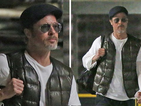Brad Pitt works his best poker face as he's spotted for first time amid claims he's 'quietly dating'