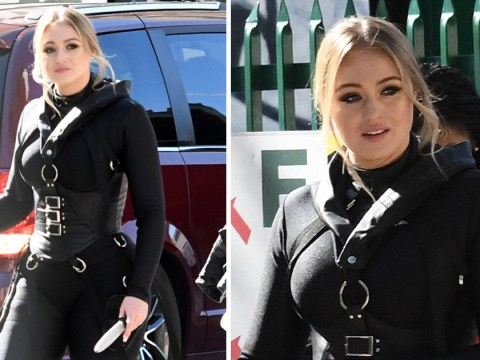 Iskra Lawrence rocks bondage-inspired look as she does her own stunts in secret photoshoot