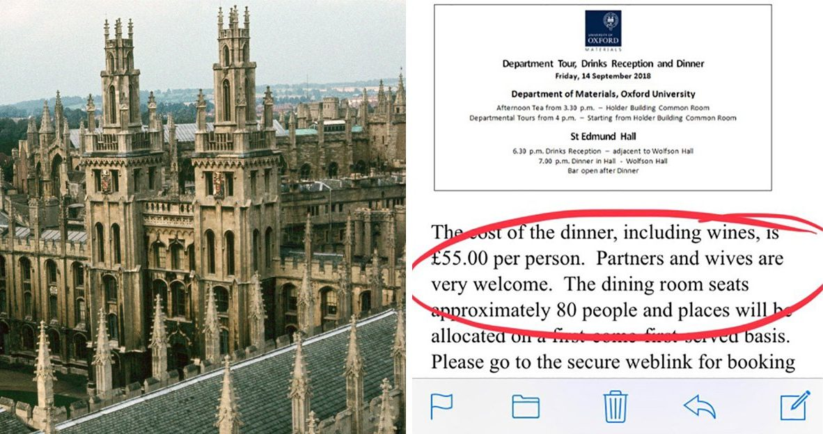 Oxford University comes under fire for 'sexist' reunion invitation